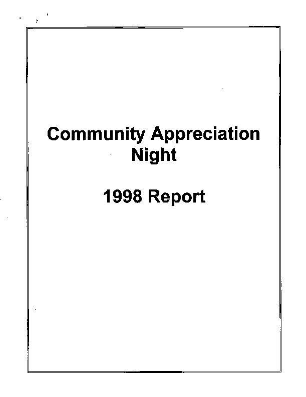 13 page report on the 1998 community appreciation night held by OPIRG Guelph.