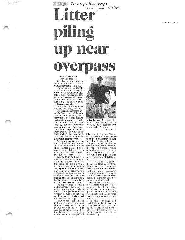 Image of newspaper article describing litter under Hanlon Expressway overpass