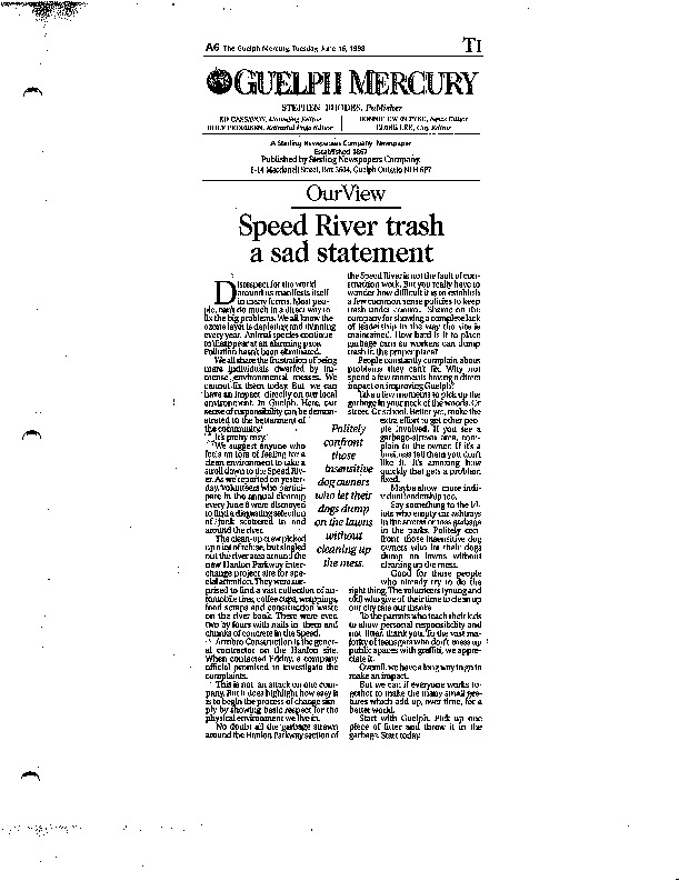 Image of an editorial from the Guelph Mercury about the garbage in the Speed River.