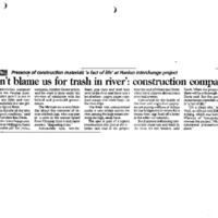 Image of newspaper article about construction company and debris in Speed River