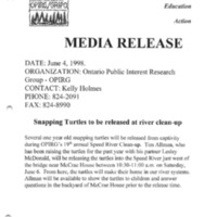 Media release announcing release of snapping turtles from captivity